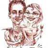 sexy couple caricature