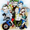family bike caricature