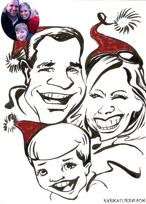 christmas family caricature