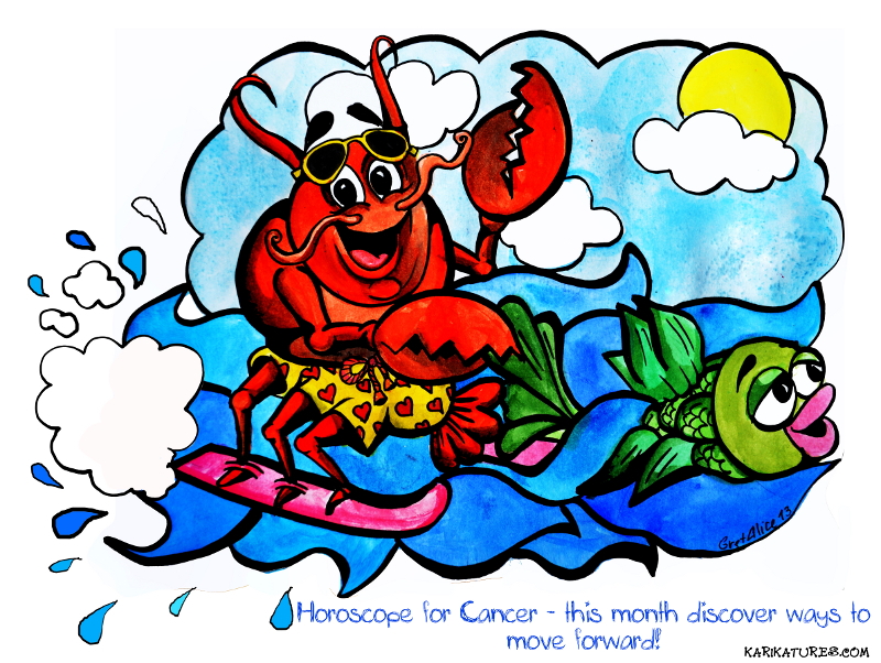 Cancer horoscope caricature
